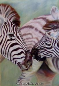 Zebra Kiss - Pastels on Uart 800 16 x  12 ins