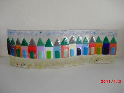 'Beach-Huts' 31x10cm wave-form